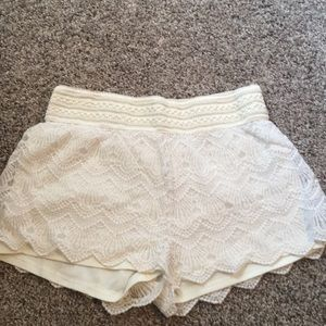 Off White Lace Shorts